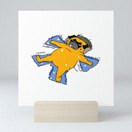 Snow Angel Pug Mini Art Print
