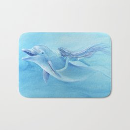 Blue Dolphin With Girl Transforming Into Mermaid Bath Mat
