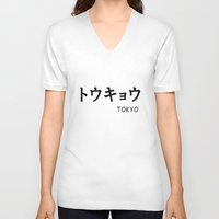 tokyo V-neck T-shirts featuring TOKYO by CABINWONDERLAND