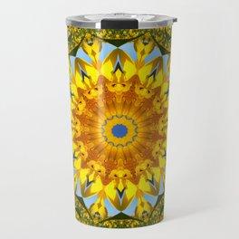 Nature Flower Mandala, sunflower 001.1 / Floral mandala-style Travel Mug