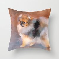 pomeranian Throw Pillows featuring Tiny Pomeranian by Jai Johnson