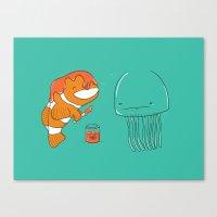 jellyfish Canvas Prints featuring Jellyfish by Lili Batista