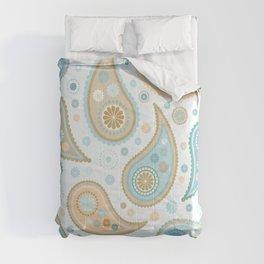 Paisley Funky Design Blues Creams & Caramels Comforters