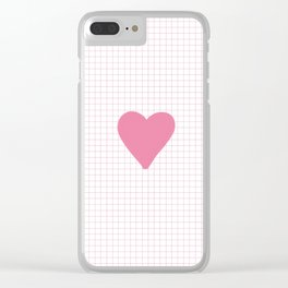 Blush Pink Heart on Grid Clear iPhone Case