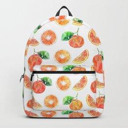Citrus Orange Fruits watercolor painting white Artwork Backpack