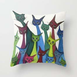 Coronado Whimsical Cats Throw Pillow