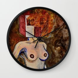 Burning House Head Fire Painting Art Wall Clock