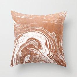Marble suminagashi copper metallic japanese spilled ink watercolor ocean swirl marbling Throw Pillow