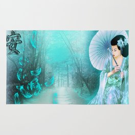 Geisha In Teal Rug