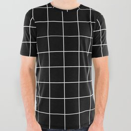 Grid Simple Line Black Minimalist All Over Graphic Tee