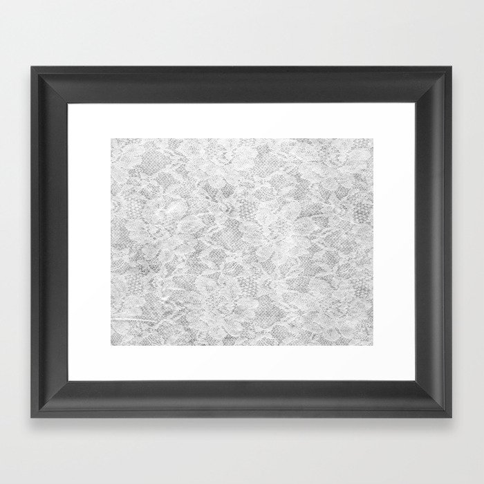 White Lace Framed Art Print by valeriehoffmann   Society6