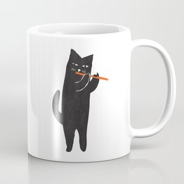 Black cat with flute Coffee Mug