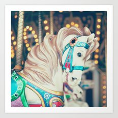 Blue Carousel Horse Art Print