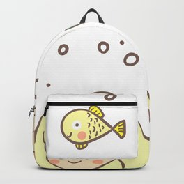 Cute Mermaid Illustration BFF Continuous Pattern Backpack