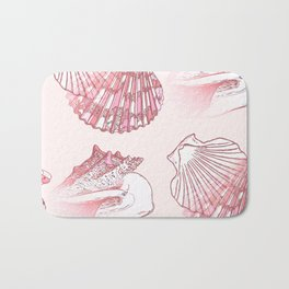 Seashells Coastal Nautical Pattern Pink Bath Mat