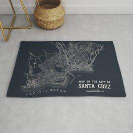 City of Santa Cruz Map Navy Blue Rug