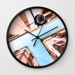 Gothic Quarter, El Raval, Barcelona City, Perspective View, Downtown Barcelona Spain, Travel Print, Vintage Architecture Wall Clock