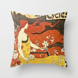 Vintage American art nouveau Bicycles ad Throw Pillow