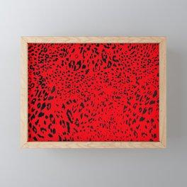 Blazing Deep Red Leopard Stipe Animal Print Pattern Framed Mini Art Print