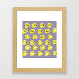golden lips pattern Framed Art Print