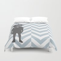 sci fi Duvet Covers featuring Sci-Fi Geek by Jade Deluxe