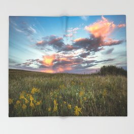 Prairie Fire - Fiery Sky at Sunset in Oklahoma Throw Blanket