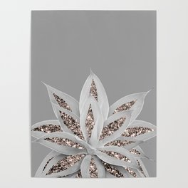 Gray Agave with Rose Gold Glitter #1 #shiny #tropical #decor #art #society6 Poster
