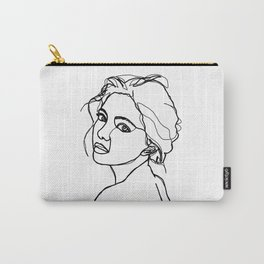 Woman's face line drawing - Adena Carry-All Pouch