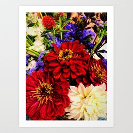 Red Flower Bouquet Art Print