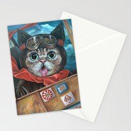 Lil Bub Takes Flight, cute cat art, oil painting portrait, flying plane in sky, kitty, kitten Stationery Cards