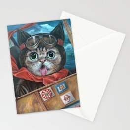 Lil Bub Takes Flight, cute cat art, oil painting portrait, flying plane in sky, kitty, kitten Stationery Cards