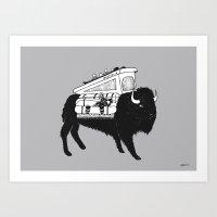 snowboard Art Prints featuring BuffaloMobile Snowboard by Jonas Claesson