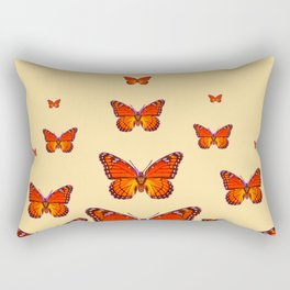 ORANGE MONARCH BUTTERFLIES CREAMY YELLOW Rectangular Pillow