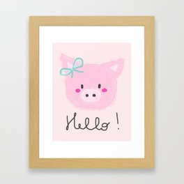 Girls decor  HELLO pink piglet Framed Art Print