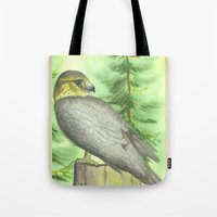 merlin Tote Bags featuring Merlin Falcon by Holly Barbo