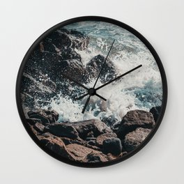 Splashing Waves on Rocks 01 Wall Clock