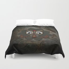 Cute little steampunk owl with floral elements Duvet Cover