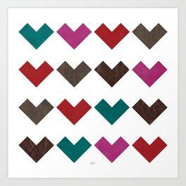leather geometric love on white Art Print