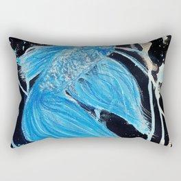 Blue Splatter Drip Betta Rectangular Pillow