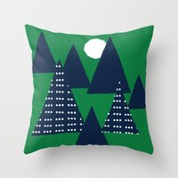 camping Throw Pillows featuring Camping by pegeo