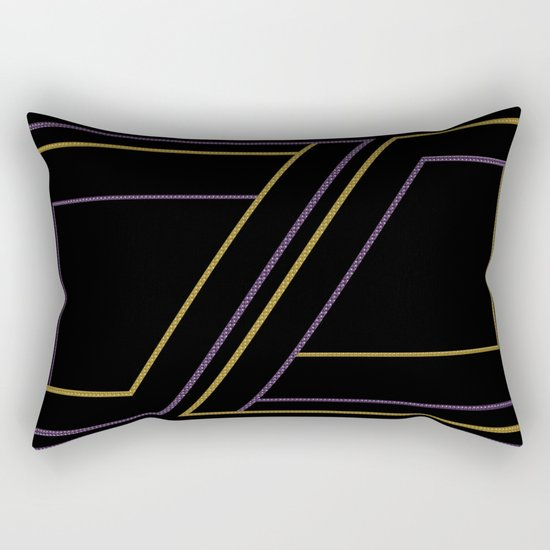 Geometry on black (abstract) Rectangular Pillow