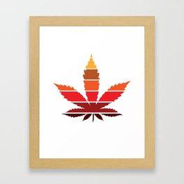 Marijuana Leaf Vintage Retro Sunset Inspired Design design Framed Art Print