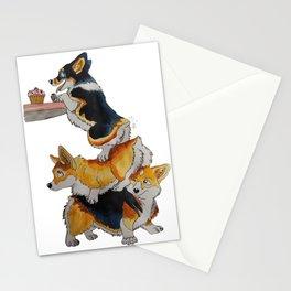 Corgi hungry for cupcake Stationery Cards