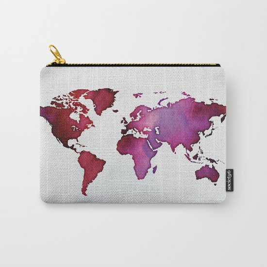 Red & Pink World Map Carry-All Pouch