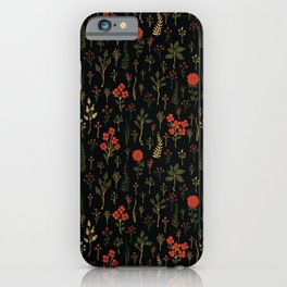 Green, Red-Orange, and Black Floral/Botanical Print iPhone Case