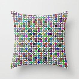 Little Cyberatomic Rainbow flower pattern Throw Pillow
