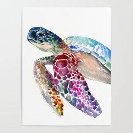 Sea Turtle, swimming turtle art, purple blue design animal art Poster