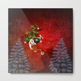 Christmas, Santa Claus with christmas tree Metal Print