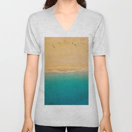 turquoise ocean wave sandy beach Unisex V-Neck