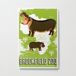 Vintage African Hippo Zoo Ad Metal Print